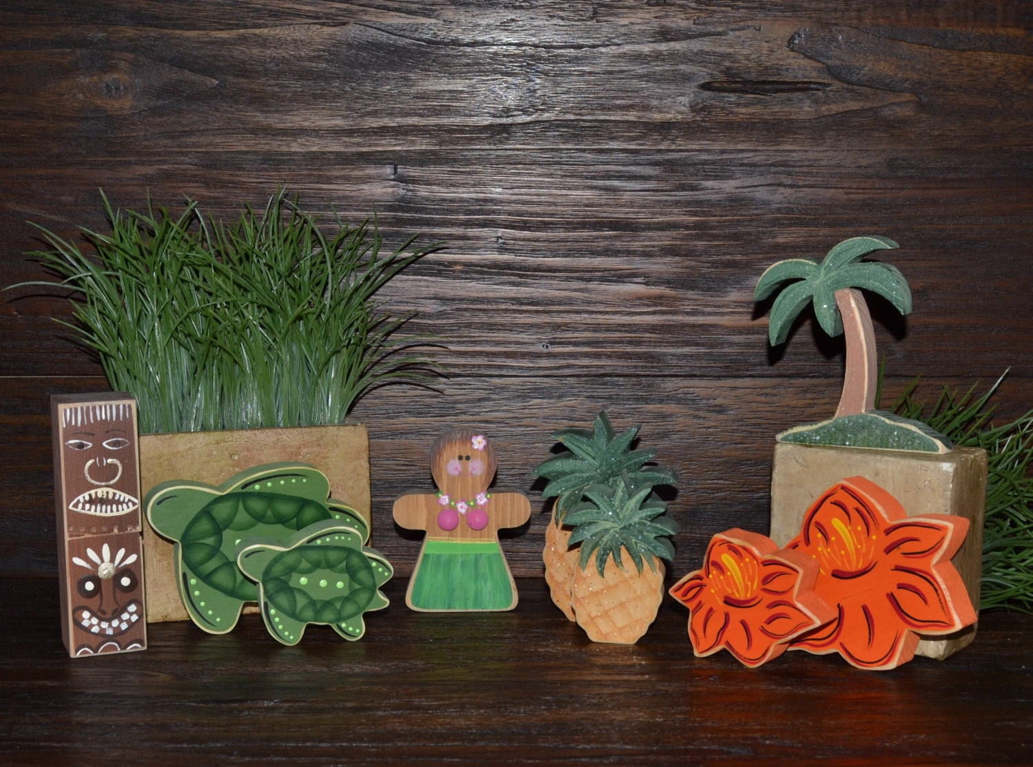 Hula girl hawaiian home decor block set hawaii block set aloha for Hawaiian home decorations