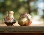 Vintage Hand painted salt & pepper shakers - metal work (2 objects)