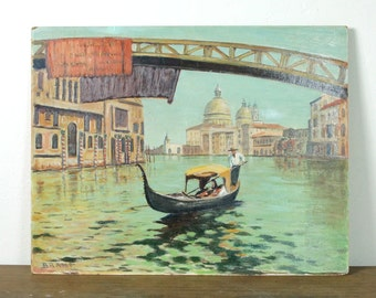 30s Venice Painting / Original Oil Painting of Italy / Artist Signed