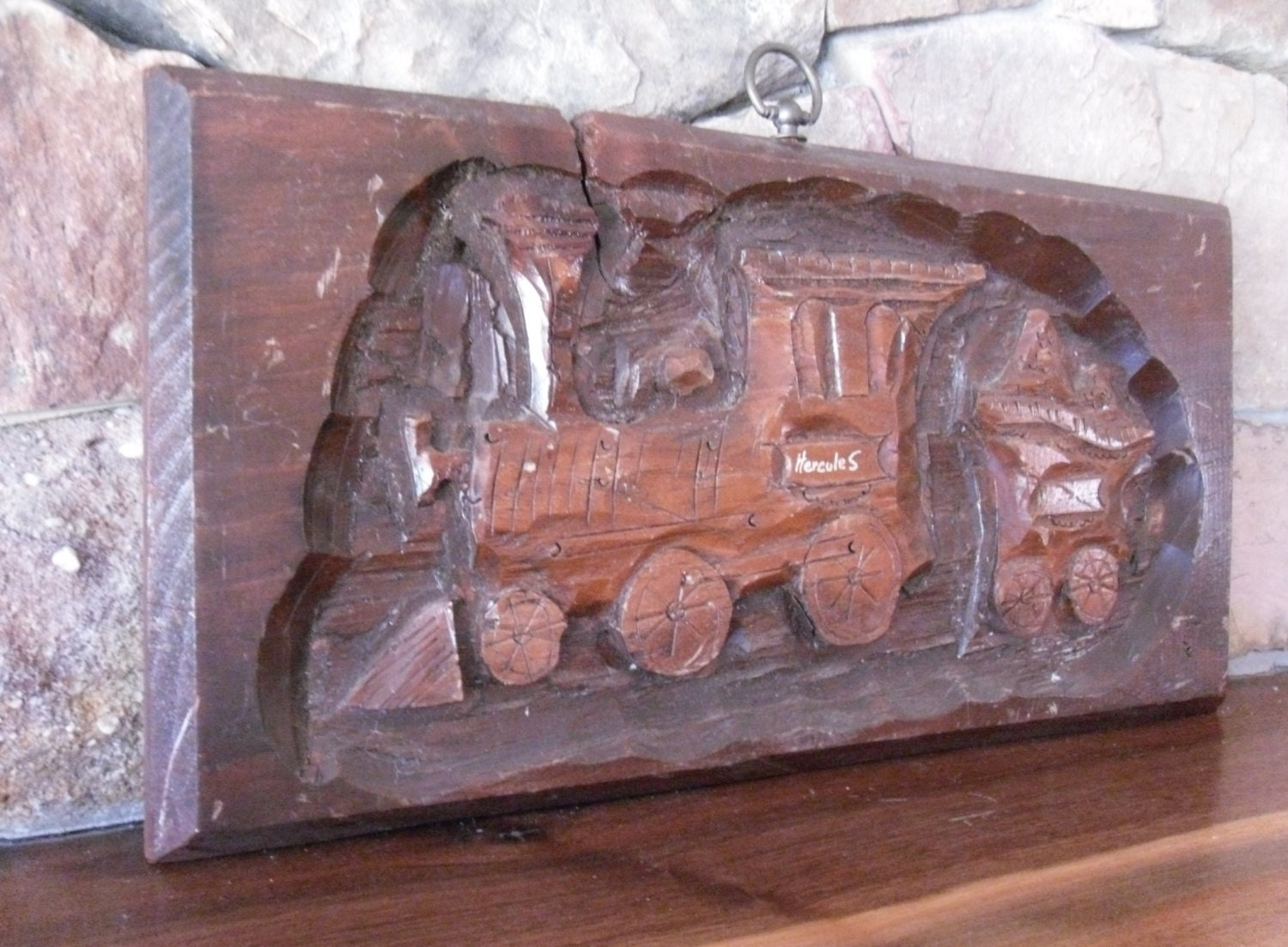 Vintage Hand Carved Wood Train W Coal Car Wall Plaque Hanging