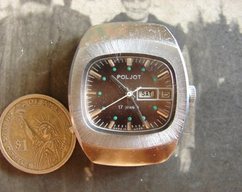 Vintage Soviet Union 1st MCHZ Kirova factory Poljot mechanical wrist watch with 17 j movement from USSR era 1970s