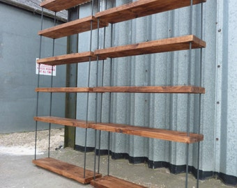 Fantastic Industrial Rustic Hairpin Pine & Steel Bookcase Shelving