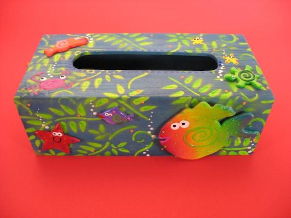 Kleenex box cover beach theme tissue box cover by pondscumceramics - Beach themed tissue box cover ...