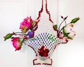 Vintage Crochet Basket Unique 3 D Wall Hanging or Bag Shabby Decor Retro Kitchen Decor  Mother's Day Gift