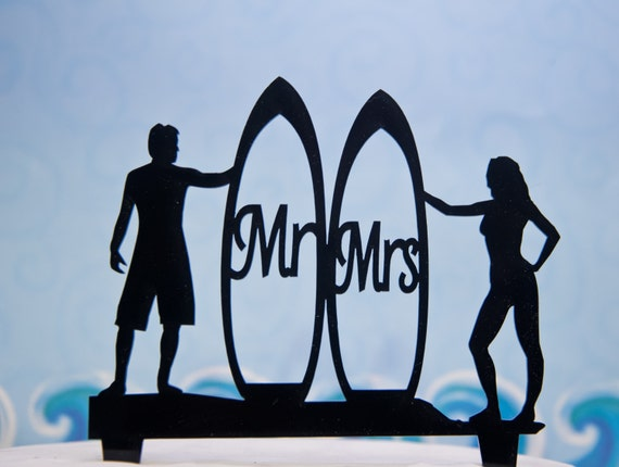 Surfing Wedding Cake Topper Silhouette Couple With