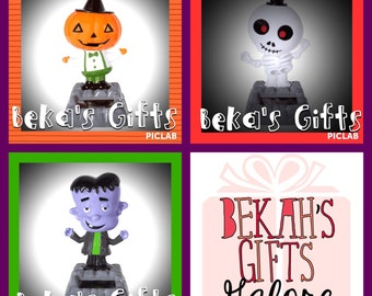 GREEN Eco Friendly Halloween Themed Solar Toy Character Party Favor Bulk Bag Selection of Pumpkins Skeletons and Monsters Bag O' Nine