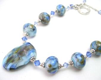 Glass bead bracelet, Blue Lampwork Bracelet, Handmade lampwork beads, Blue and silver bracelet. Artisan lampwork bracelet