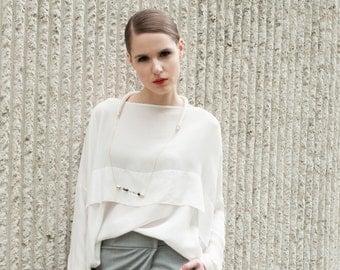 White spring summer blouse - White oversized blouse - loose fit blouse - white blouse - women shirt