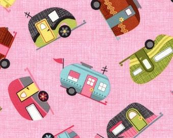 Camping pink Caravan mobile Home retro Timeless Treasures 0,5 m USA fabric pure cotton