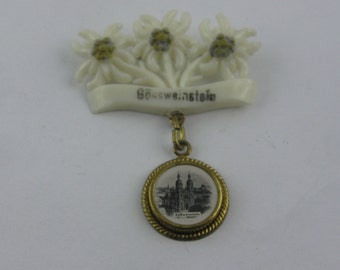 """Age old Souvenir Pin (probably 50s) from Franconia in Germany, """"Gössweinstein"""". VINTAGE"""