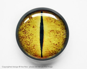 30mm handmade glass eye cabochon - yellow / orange reptile or dragon eye - standard profile