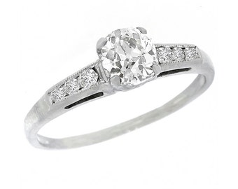1920s GIA Certified 0.79ct Old Mine Cut Diamond 18k White Gold Engagement  Ring