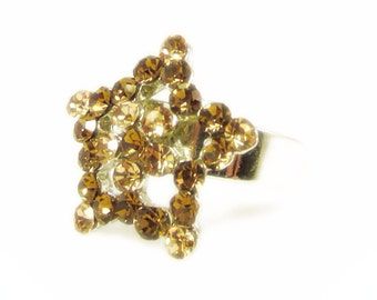 Fun Sparkling Brown Rhinestone Star Adjustable Ring