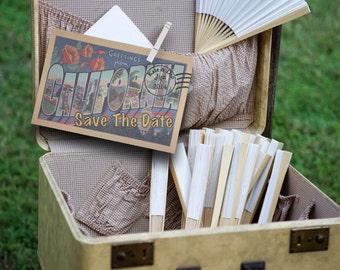 Vintage Travel Postcard California Save the Date Wedding Invitation digital download pdf