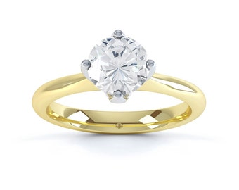 Classic 18ct Yellow Gold Round Solitaire Diamond Engagement Ring 0.5ct