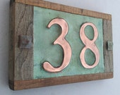 "Real copper house number 3""/75mm or 4""/100 mm, with weathered oak frame custom handmade, 2 x nos. shipped worldwide"