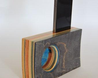 SLIM Smartphone Speaker/Amplifier made from Reclaimed Skateboards