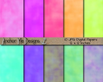 Watercolor Rainbow Digital Papers