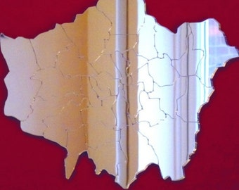 Etched London Shaped Mirrors - 4 Sizes Available