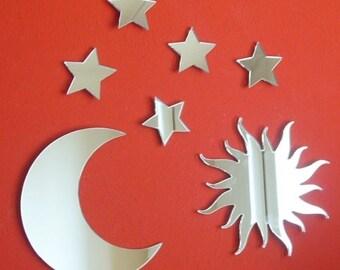 Set of Sun Moon and 5 Stars Mirrors