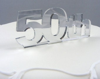 50th Cake Topper - in Mirrored Acrylic - 5 Colours Available