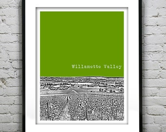 1 Day Only Sale 10% Off - Willamette Valley Oregon Poster Art City Skyline Print OR