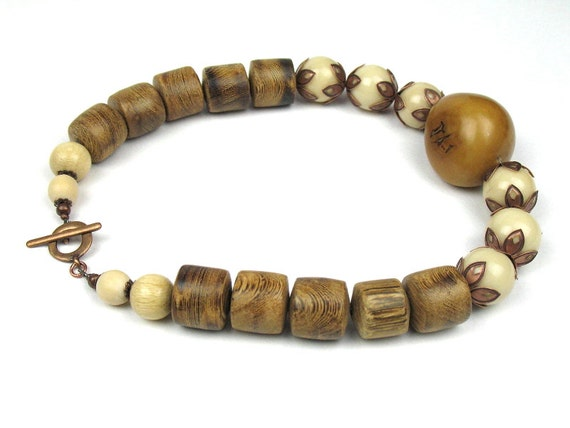 Statement Necklace in Brown with Ivory and Ochre Tagua Nut and Chunky Wood Beads