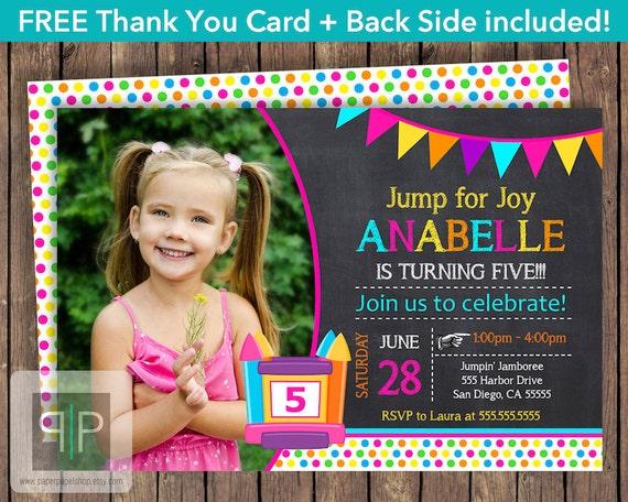 Bounce House Birthday Invitation Bounce House Girl Photo Birthday – Bounce House Birthday Invitations