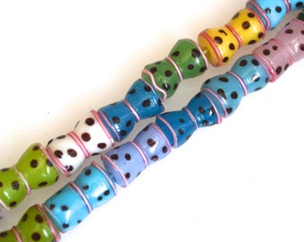 2 Str Lampwork Glass Beads Muti Color Size Approx. 17x9-11mm 42 Pieces