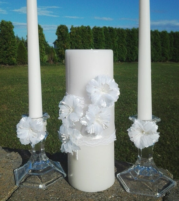 White Ivory Wedding Ceremony Unity Candle Set Brooch Crystal