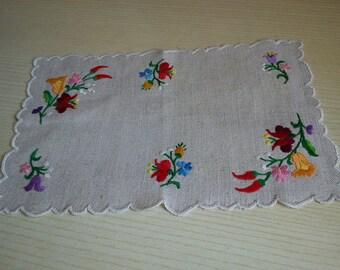 Tipical Hungarian (kalocsai) Handmade Embroidered Overlay