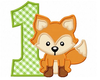 Fox Number 1/ First Birthday Applique Machine Embroidery Design NO:0192