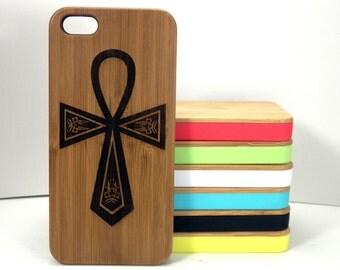 Egyptian Ankh iPhone 5C Case. Key of Life Hieroglyph Spiritual Symbols. Eternal Twin Flame. Eco-Friendly Bamboo Wood Cover Gift iMakeTheCase