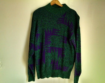 Green and Purple Geometric Pattern Vintage Crew Neck Sweater - Large