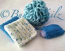 Spa Gift Set Bath Set Soap Saver Crochet Spa Bath Set Gift Wash Cloth Cotton Blue White Glacier