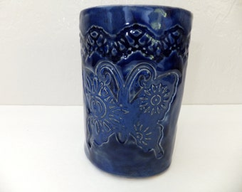 Blue Butterfly Cup, Rustic Stoneware Pottery Tumbler