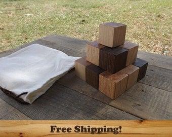 15 Walnut, Maple & Oak Wood Blocks, All Natural Unfinished baby blocks, Sanded Edges, 1.5 Inch square blocks set