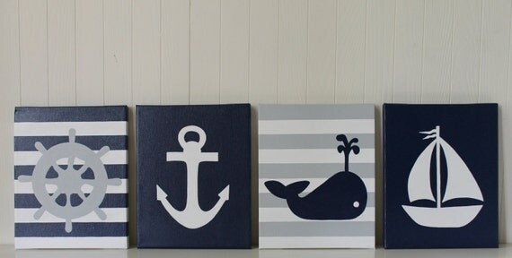 Nautical Nursery Decor Nautical Painting Anchor Whale Nursery