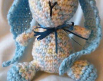 Crocheted Amigurumi Blue Bunny