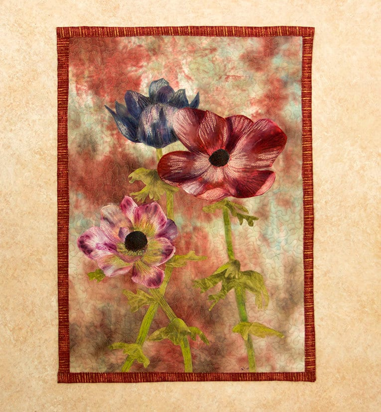 hand painted fabric art quilt wallhanging anemones. Black Bedroom Furniture Sets. Home Design Ideas