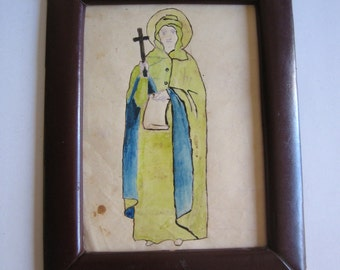 antique hand painted Greek icon