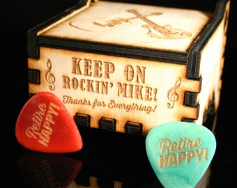 Personalized Wooden Guitar Pick Gift Box with Personalized Tagua Guitar Picks
