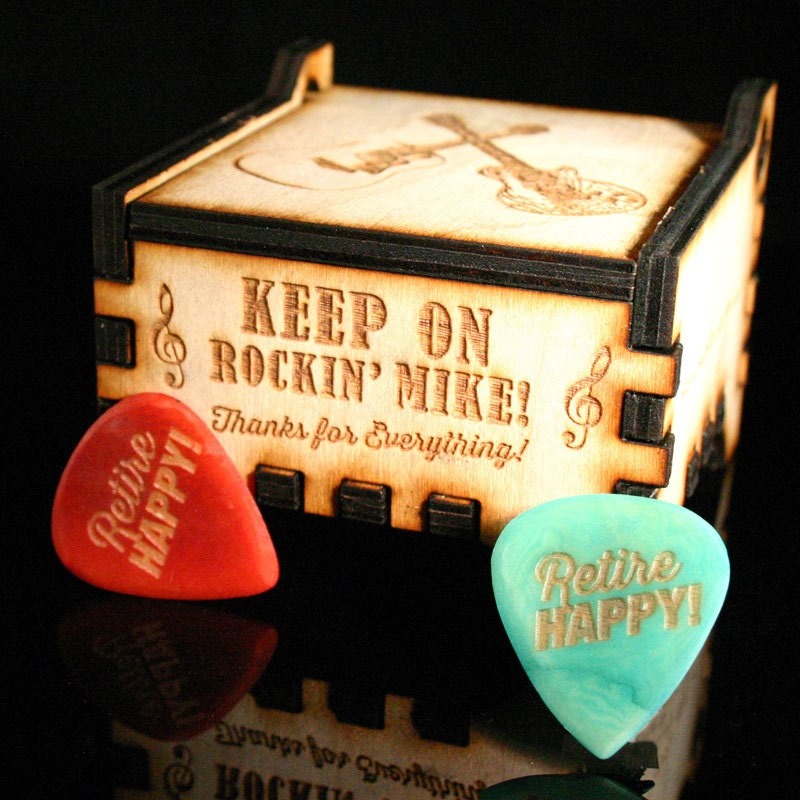 personalized wooden guitar pick gift box with personalized. Black Bedroom Furniture Sets. Home Design Ideas