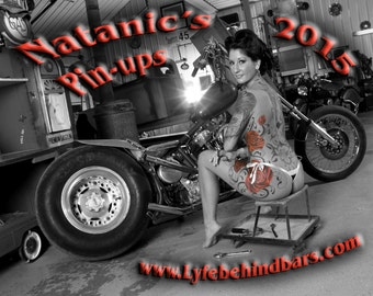 2015 Pin-up calendar featuring retro pin-up models on Vintage Motorcycles and Hot Rods