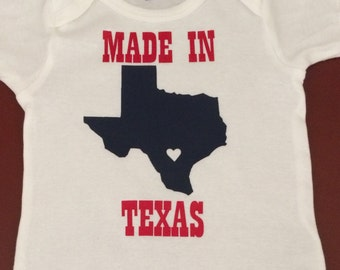 Made in Texas Onesie, creeper, bodysuit, Texas proud, personalized gift