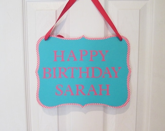 Personalized door sign, Happy Birthday door sign