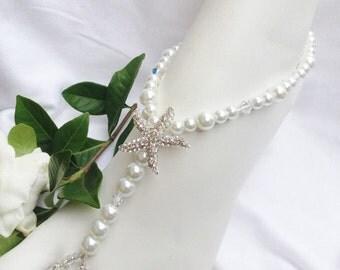 White Pearl Starfish Barefoot Sandal Bridal Jewelry Beach Wedding Bridal Barefoot Sandals Starfish Barefoot Sandal