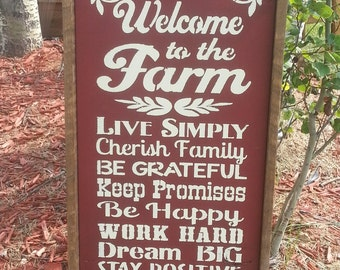 "Welcome to the FARM  Rustic distressed typography wood sign 12""x24"", FARMHOUSE DECOR, Farm sign, Rustic Farm & Ranch Sign, Original"