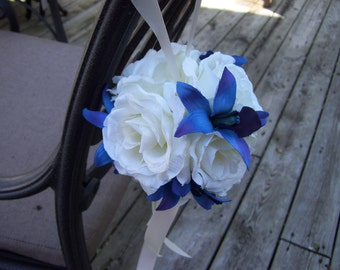 Off White Roses and Blue Orchids Kissing Ball, Flower Girl