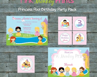 DIY - Girl Princess Pool Birthday Party Pack # 302 - Coordinating Items Available